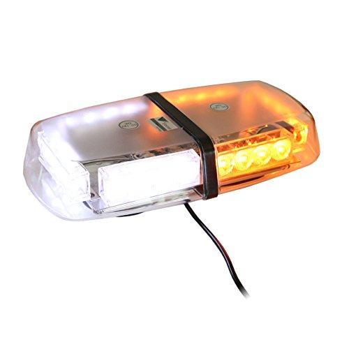 T Tocas (tm) Lumineux 24 LED Strobe Beacon à base magnétique, Avertissement Mini Bar Feux de détresse pour voitures SUV Bateau Toit, DC12V (Ambre et Blanc)