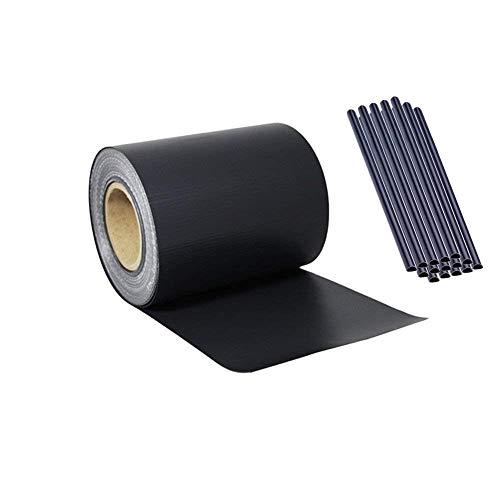 AUFUN PVC Sichtschutzstreifen Sichtschutzfolie inkl. 20 Stücke Befestigungsclips 450g/m² Windschutz Garten Doppelstabmattenzaun (35m*19cm, Anthrazit)