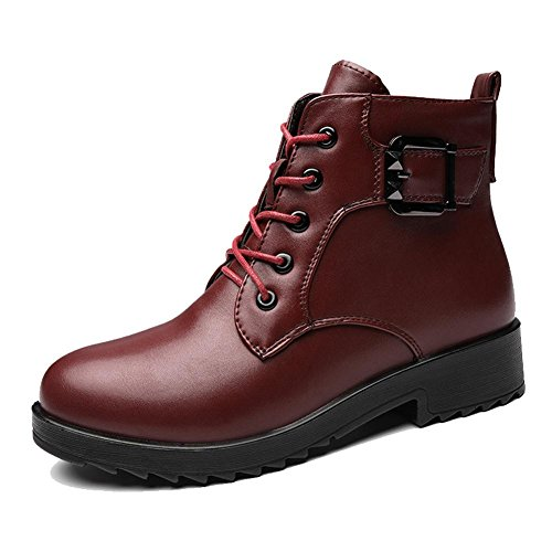 Femelle Court Martin Bottes Cuir Faible Talon Plat Boucle Chaud Décontractée Lacet Peluche Plus Épaisse Cheville Chaussures