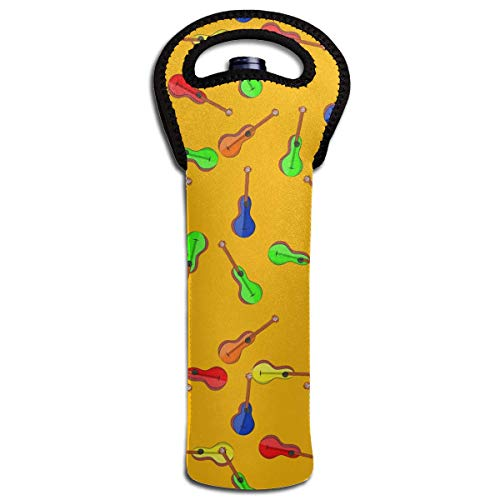 Sombrero Maracas Margarita Guitar Wine Bottle Tote Bag Carrier Bag with Handle (Sombrero Cooler)