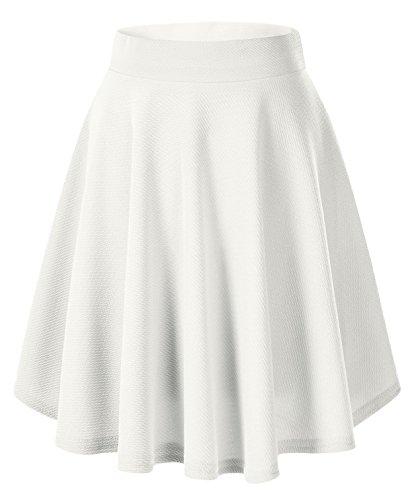 Urban GoCo Falda Mujer Elástica Plisada Básica Patinador Multifuncional Corto Falda (S, Blanco-larga)