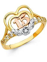Quinceañera 14 K maciza de Tri-color dorado corazón flores circonita anillo