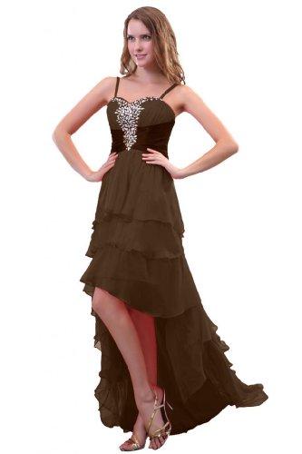 Sunvary nuovo arrivo donna Fashion A-Line Prom Gowns pieghettato abiti eleganti, in Chiffon, lunga, decorata con brillantini Brown