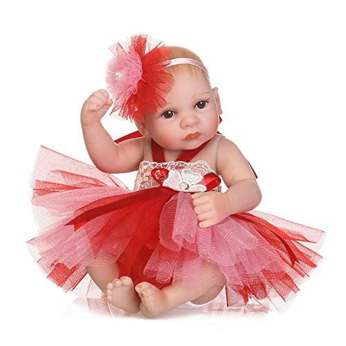 CAheadY 25cm Vinyl Silikon Reborn Baby Mädchen Puppe mit Tutu Kleid Kinder begleiten Spielzeug Red (Red Tutu Kinder)