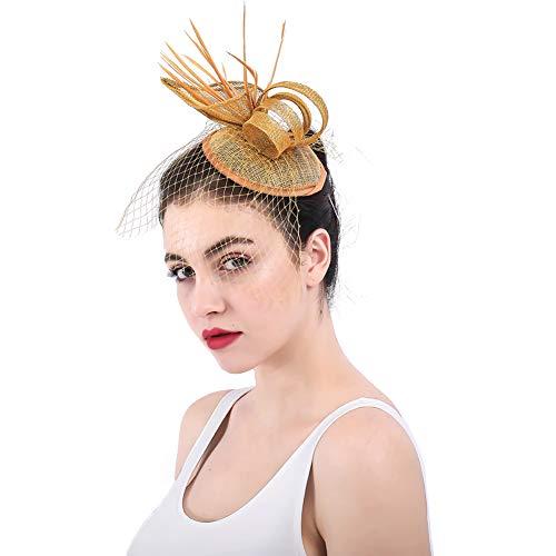 Y.L Master Damen Fascinator Braut Kopfschmuck Haarschmuck Hochzeit Haar Clip Hut Haarband Party Kirche,Brass - Brass Cocktail