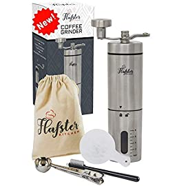 Manual Coffee Grinder- Coffee Bean Grinder with Ceramic Mechanism by Flafster Kitchen- Portable Stainless Steel Burr Hand Coffee Grinder with Folding Stainless Steel Handle – Accessories (Silver)