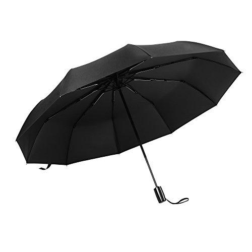 60Mph Verstärkter Winddichter Regenschirm, Vacnite 10 Ribs Automatik Öffnen / Schließen-210T Regenschirm, Verrutschsicheren Griff für Die Einfache Durchführung, Kompaktes Reisetaschenschirm, Beweglich (Lange Behandelt Handtaschen)