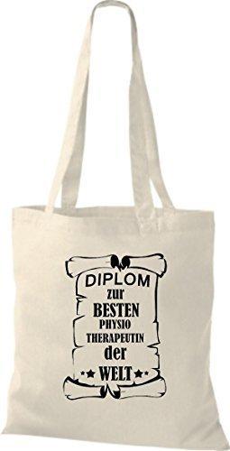 shirtstown Borsa di stoffa DIPLOM A MIGLIOR physiotherapeutin DEL MONDO Naturale