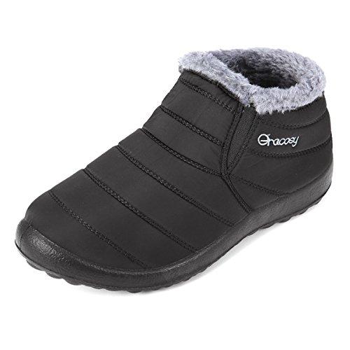 Gracosy Schneestiefel, Unisex Flach Winterstiefel Warm Gefütterte Schuhe Winter Bootsschuhe Kurzschaft Stiefel mit Inner Flaum für Damen Herren Schwarz 40 (Winter-schnee-stiefel)