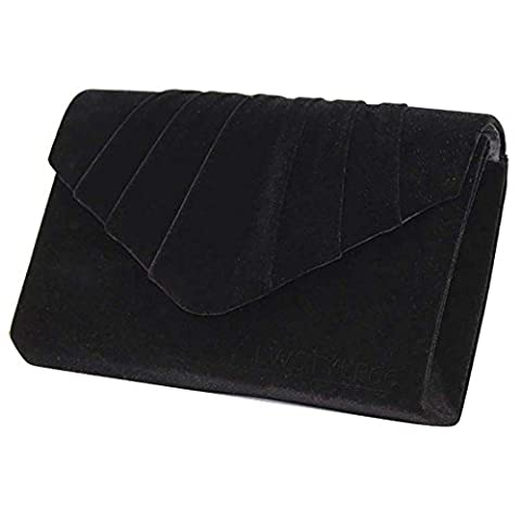 Wocharm Fashion Ladies Suede Velvet Envelope Clutch Bag Handbag Bridal Evening Womens Designer Prom Party (Black)