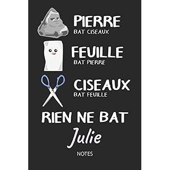 Rien ne bat Julie - Notes: Noms Personnalisé Carnet de notes / Journal pour les filles et les femmes. Kawaii Pierre Feuille Ciseaux jeu de mots. ... de noël, cadeau original anniversaire femme.