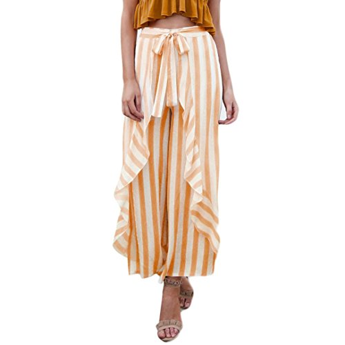 TUDUZ Damen Sommerhose Lang Streifen Rüschen Schärpe Hohe Taille Weite Bein Hose Palazzo Schlabberhose Sommer Hosenrock (Orange, S)
