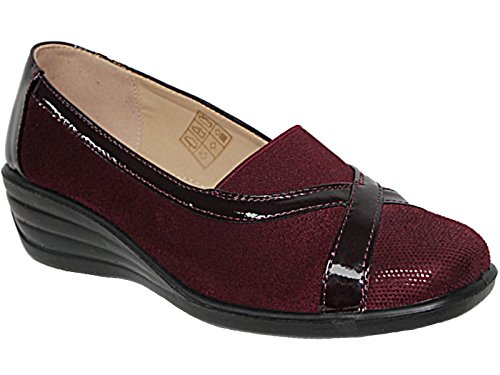 fd49a1a0 Ladies Shoe Tree Faux Leather Patent Wider Fit Slip On Low Block Heel Large  Elastic Gusset