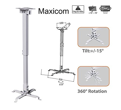 Maxicom Heavy Duty – 3 feet Projector Ceiling Mount Bracket – White ( Weight Capacity – 15kgs )
