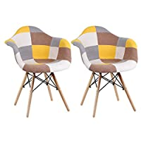 Joolihome Set of 2 Patchwork Eiffel Armchair,Fabric Dining Chair Home Office with Multi-pattern Light brown Natural Wood Leg (Multicolour-yellow)
