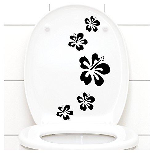 Grandora W916 Wandtattoo Hibiskusblüten I schwarz 5er Kreativset I Kinderzimmer Bad Blüten Blumen Hibiskus Aufkleber Wandaufkleber Wandsticker