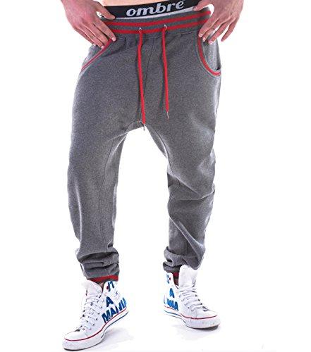 BetterStylz Jogginghose Spin Harem Sytle Sweatpants Jogger Fitness, Trainingshose S-XXL 3 Farben (L, Dark Grey Melange/Red)