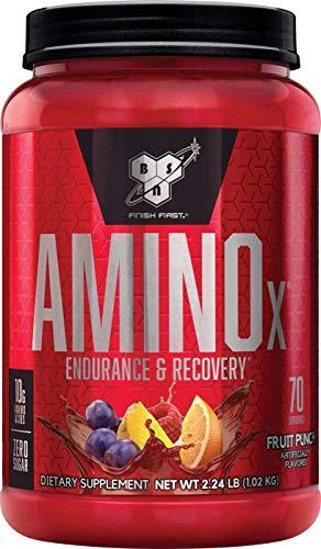BSN Amino X Verzweigtkettige Aminosäuren (mit Vitamin D, Vitamin B6, Taurin, Alanin und Arginin, BCAA-Pulver von BSN) fruit punch, 70 Portionen, 1kg -