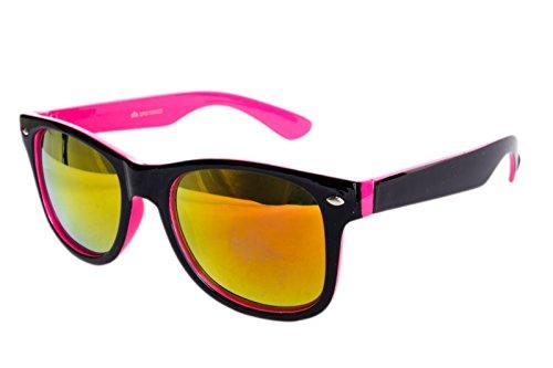Ciffre Nerdbrille Sonnenbrille Nerd Atzen Pilotenbrille Pink Schwarz Feuer Verspiegelt