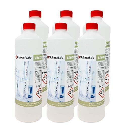 Globasid® 6 x 1l Essigsäure 60 Prozent - c2h4o2 Ethansäure - Bad- und Sanitär-Reiniger - Urinsteinentferner Extra Stark