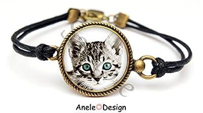 Bracelet chat noir blanc gris yeux bleu chat, chat guetteur, noir, blanc, amusant, animal, chat noir, bijoux chat, mon petit chat, petite amie