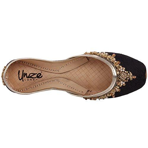 Unze Le donne nuove donne 'Beryl' Handmade hanno abbellito il panno piatto indiano Khussa pantofole pattini 3-8 Nero