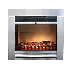 classic fire elektrokamin chicago 1800w edelstahlfront led simuliertes kaminfeuer feuereffekt. Black Bedroom Furniture Sets. Home Design Ideas