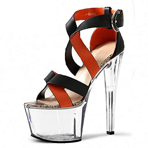 Hayaya Damenhochheels, Sommer Neue Wasserdichte Plattform Stiletto sexy Cross-gebundene High Heels europäischen und amerikanischen offenen Zehen-Sandalen 17cm super High Heel Kristall-Schuhe -