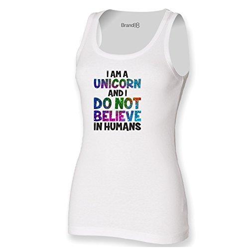 Brand88 - I Am A Unicorn Damen T-Shirt Ohne Arm Weiß