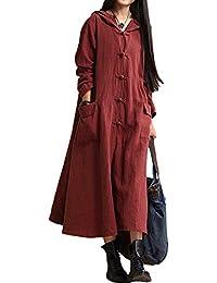 Romacci Damen Weinlese Kleid mit Kapuze langes Hülsen-beiläufiges Loses Festes Baumwollkleid