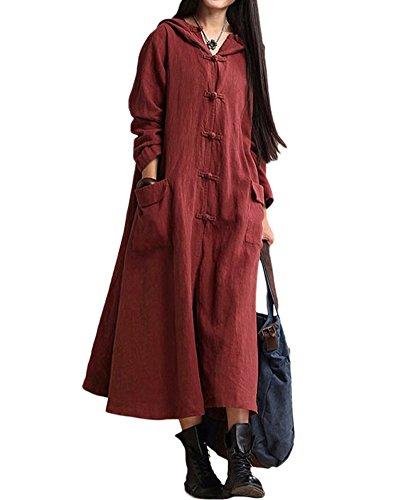 Romacci Primavera Otoño Mujer Vintage Vestido con Capucha de Manga Larga Casual Suelta Algodón Sólido Vestido de Borgoña Azul Oscuro Negro