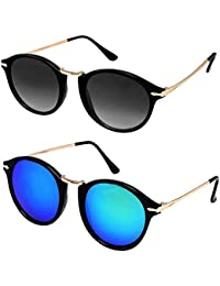 32f1abd2a2 Y S Men s Wayfarer and Aviator Sunglasses Combo (Black and Blue) - Pack of 2