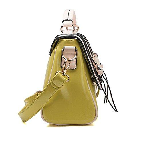 KAXIDY Bowknot Damen Modischer Designer Promi Stil Faux Leder Tragetaschen Schulterbeutel Schultertaschen (Blau) Zitrone-Gelb