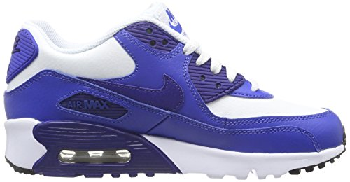 Nike Nike Air Max 90 Leather (Gs) Shoe, Sneakers basses mixte enfant Weiß (105 WHITE/DEEP ROYAL BLUE-GAME ROYAL-BLACK)