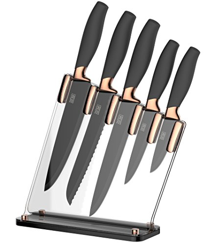 Taylors Eye Witness Brooklyn Copper 5 Piece Knife Block Set with Sloping Clear Acrylic Block