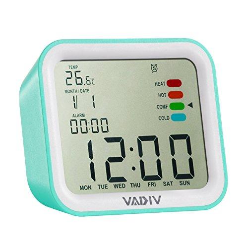 Reloj Despertador Viaje Digital Portatil, VADIV CL07 Función de Despertador de Filp, Alarmas Programables, Pantalla Retroiluminada, Temperatura Fecha Indicador Confort Térmico, Smart Snooze, Medidor Para Adultos, Niños, Adolescentes - Verde