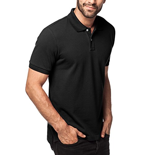 LAPASA Herren Poloshirt, Polo T-Shirt - M019, XL, Schwarz