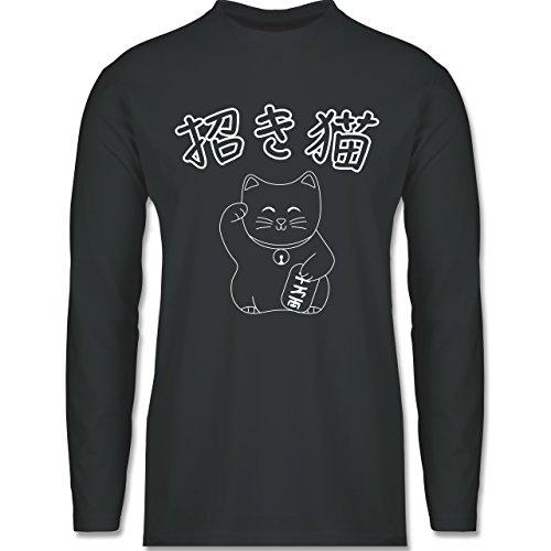 Shirtracer Katzen - Winkekatze- Japanisch - Herren Langarmshirt Dunkelgrau