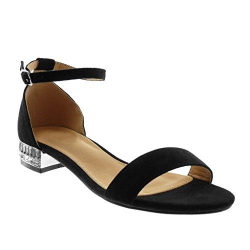 Angkorly Scarpe Moda Sandali con Cinturino Alla Caviglia Donna Strass Tanga Tacco a Blocco 2.5 cm Nero