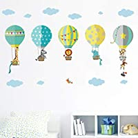 decalmile Animals in Hot Air Balloons Wall Decals Kids Wall Stickers Childrens Bedroom Nursery Baby Room Decor
