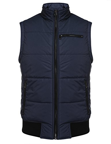 Coofandy Mens Fashion Casual Stand Collar Full Zip Slim Quilted Vest