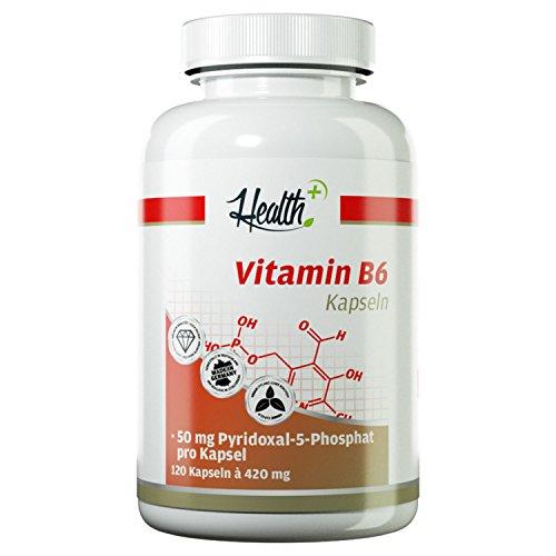 HEALTH+ Vitamin B6 50mg - 120 Kapseln, hochdosiertes & reines P-5-P - PYRIDOXAL-5-PHOSPHAT, B6 Vitamin Kapseln - optimal bei proteinreicher Ernährung, Nahrungsergänzungsmittel Made in Germany (Kapseln Mg 20 120)