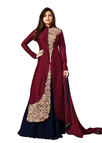 Tagline Women\'s Brown & Blue Banglori Silk Indo Western Style Semi Stitched Salwar Suit