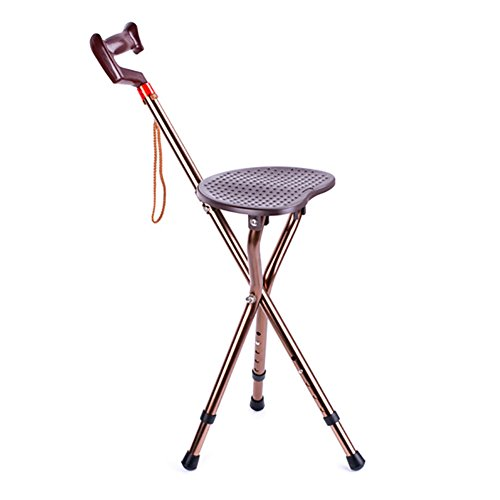 Mrsliu pieghevole regolabile camminare sgabello sedia da spiaggia massaggio bastone da passeggio con sedile sgabello da pesca portatile per anziani