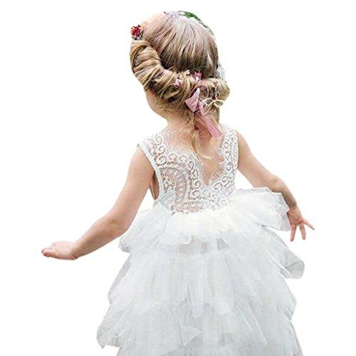 Longra Mädchen Kleid Festliche Kleider Ärmellos Spitzenkleider Tutu Tüll-Röcke Kleid Baby Kinder...