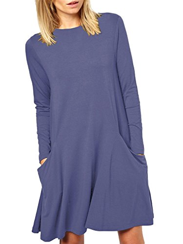 Lssiges schwungvolles einfaches Damen TShirtKleidungsstück mit Langarmtaschen  Tiefblau