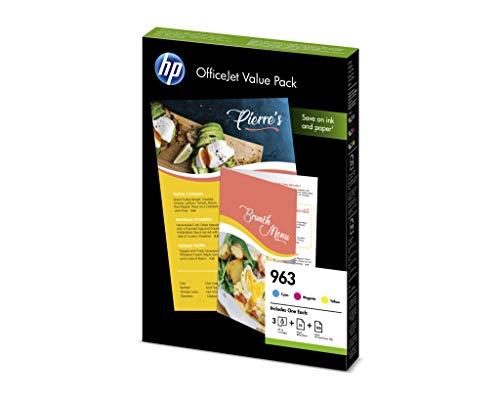 HP 963 Office Value Pack 3 Druckerpatronen mit hoher Reichweite (25 Blatt Druckerpapier glänzend (180g), 100 Blatt Druckerpapier Color Choice (90g) für HP OfficeJet Pro) blau, rot, gelb -