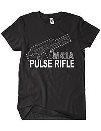 Alien Aliens T shirt Colonial Marines M4A1 PULSE RIFLE T shirt Prometheus M4A1_Pulse_rifle_Black