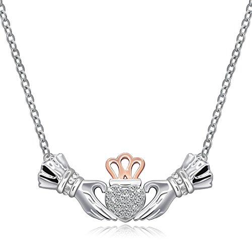 (925 Sterlingsilber Claddagh-Halskette mit irischer/keltischer Krone und Herz-Anhänger, steht für Freundschaft und Loyalität, Schmuck)