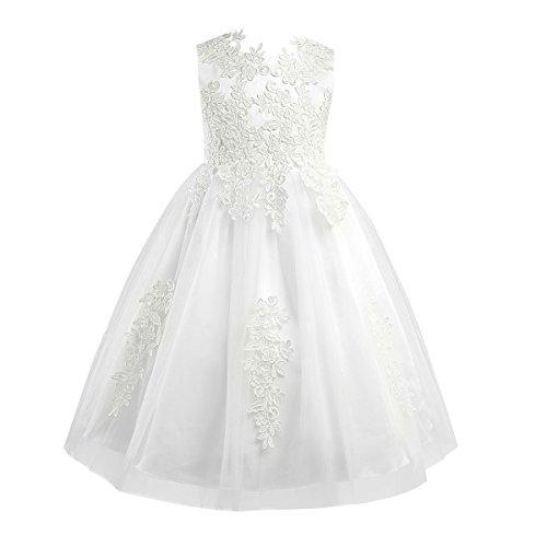 iEFiEL Girl's Princess Flower Dresses Sleeveless Tulle Wedding Pageant Bridesmaid Christening Dress